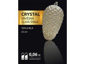 LED dekorace - závěsná zlatá šiška Crystal 15 LED