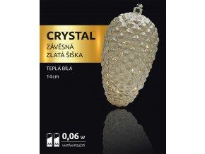 LED dekorace - závěsná zlatá šiška Crystal 10 LED
