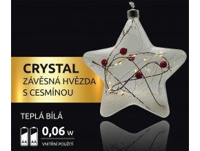 LED dekorace - závěsná hvězda s cesmínou Crystal 15 LED