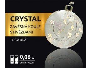 LED dekorace -  závěsná koule s hvězdami Crystal 10 LED