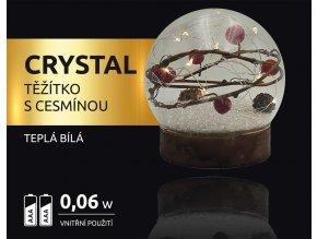 LED dekorace - těžítko s cesmínou Crystal 10 LED