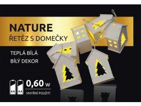LED dekorace - Nature řetěz s domečky bílý 10 LED