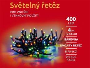 LED Světelný řetěz - 400 LED dvojitý - barevná mod