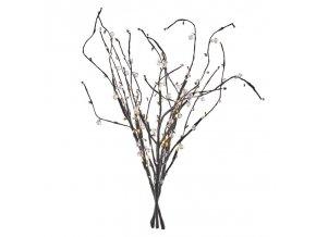 LED větvička s perlami, 60cm, 3× AA, teplá bílá, časovač