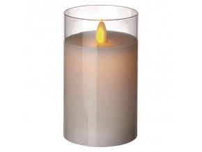 LED svíčka ve skle, bílá, 5×12,5cm, 2× AA