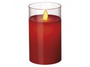 LED svíčka ve skle, červená, 5×12,5cm, 2× AA