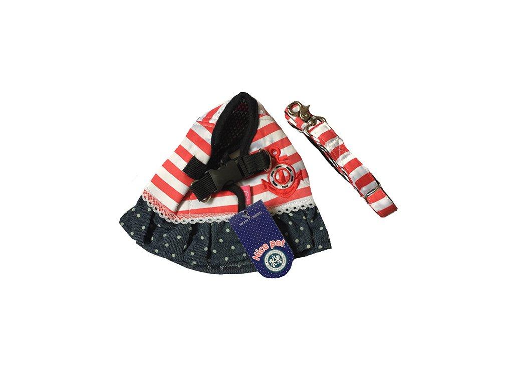 48aa53abbe22 šaty pre psa s vodítkom červené - námornícka kotva ...