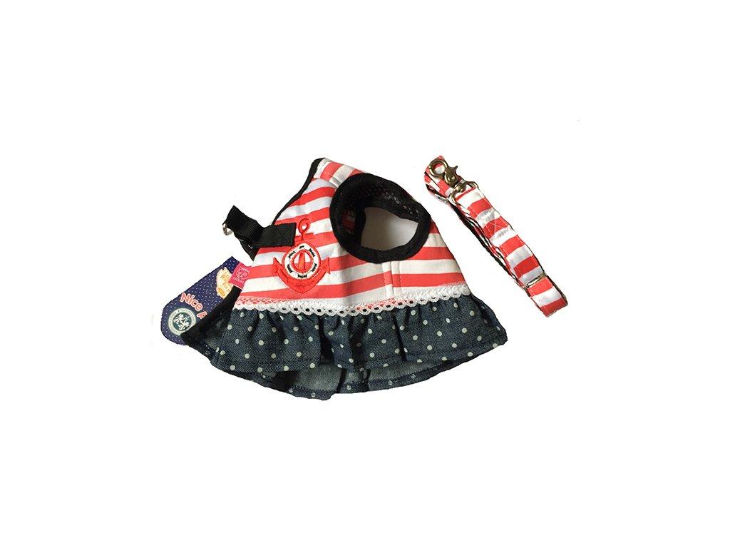 85a022086d5e vyr 5701010111. 1 z 4. šaty pre psa s vodítkom červené - námornícka kotva  ...