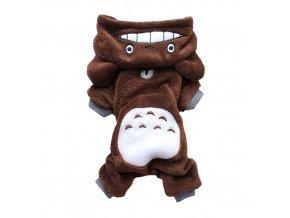 flisové oblečenie pre psa s kapucňou hnedé - medvedík