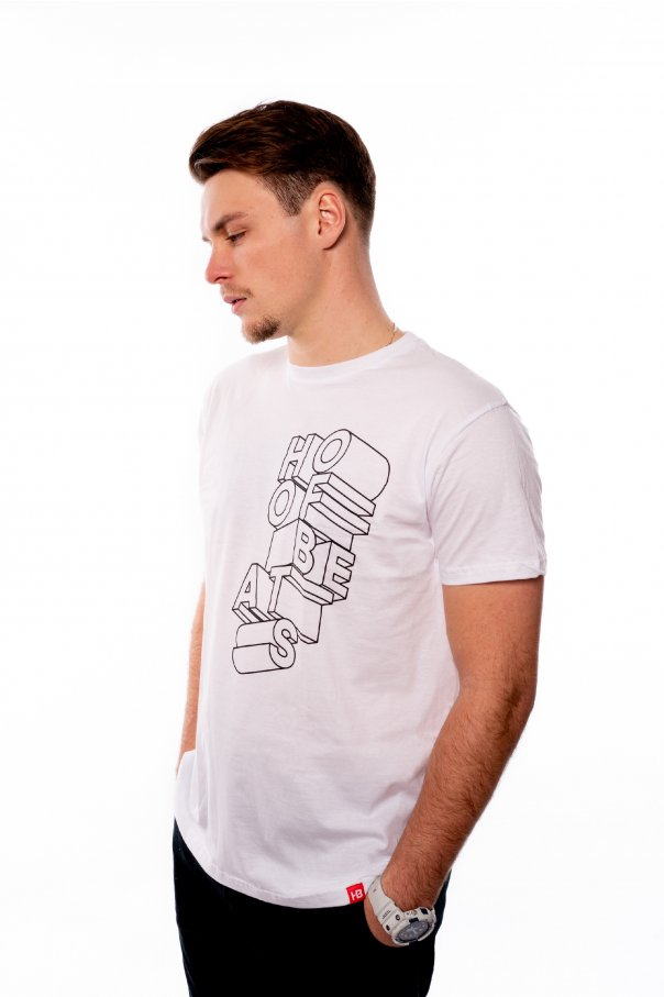 Bílé triko Hoofbeats typografie