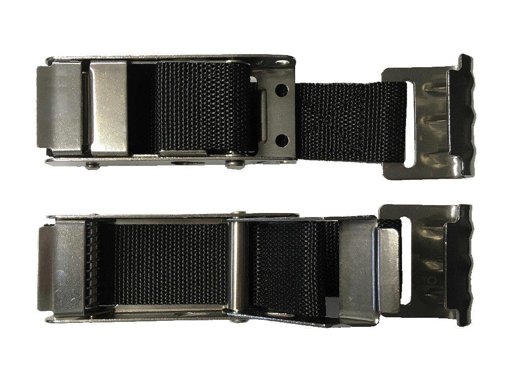 Napínací přezka plachty nerez se sklopnou pojistkou, s řemenem 45 mm, hák-plech