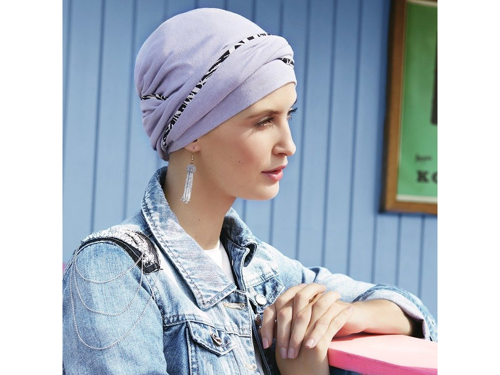 Turban Viva Emmy, vzor Solid w/piping, Lavender Grey