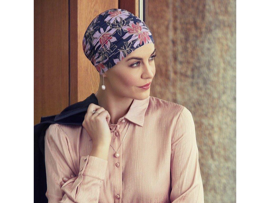 Turban Christine Yoga, vzor Flowering Blues