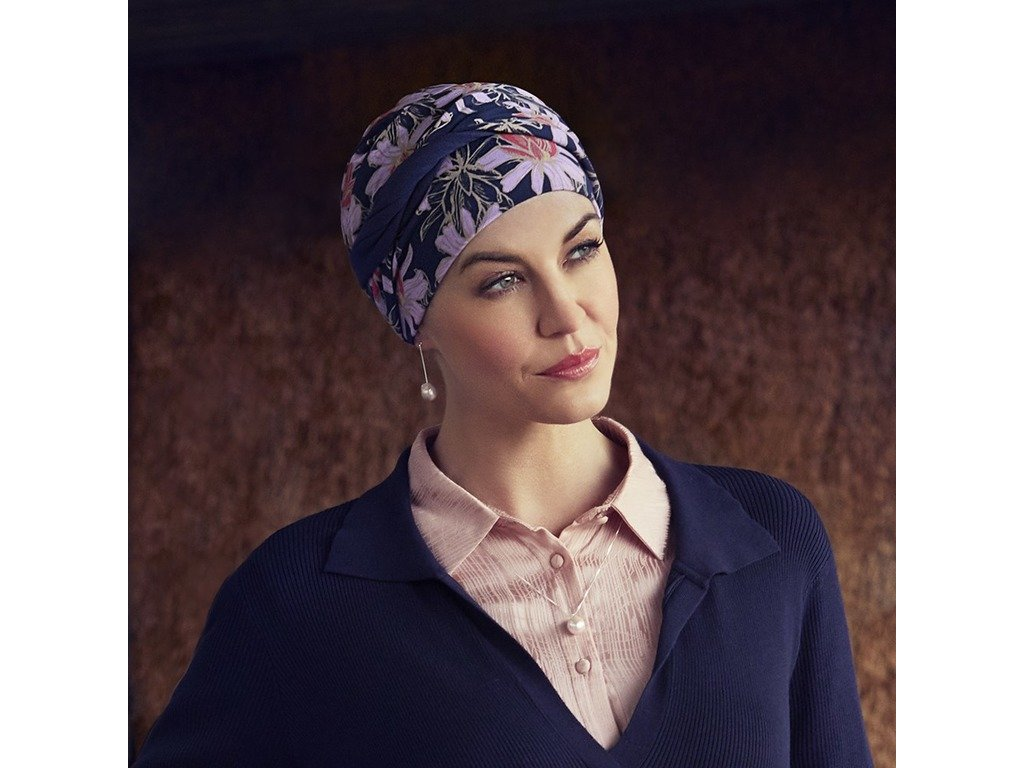 Turban Christine Shakti, vzor Flowering Blues
