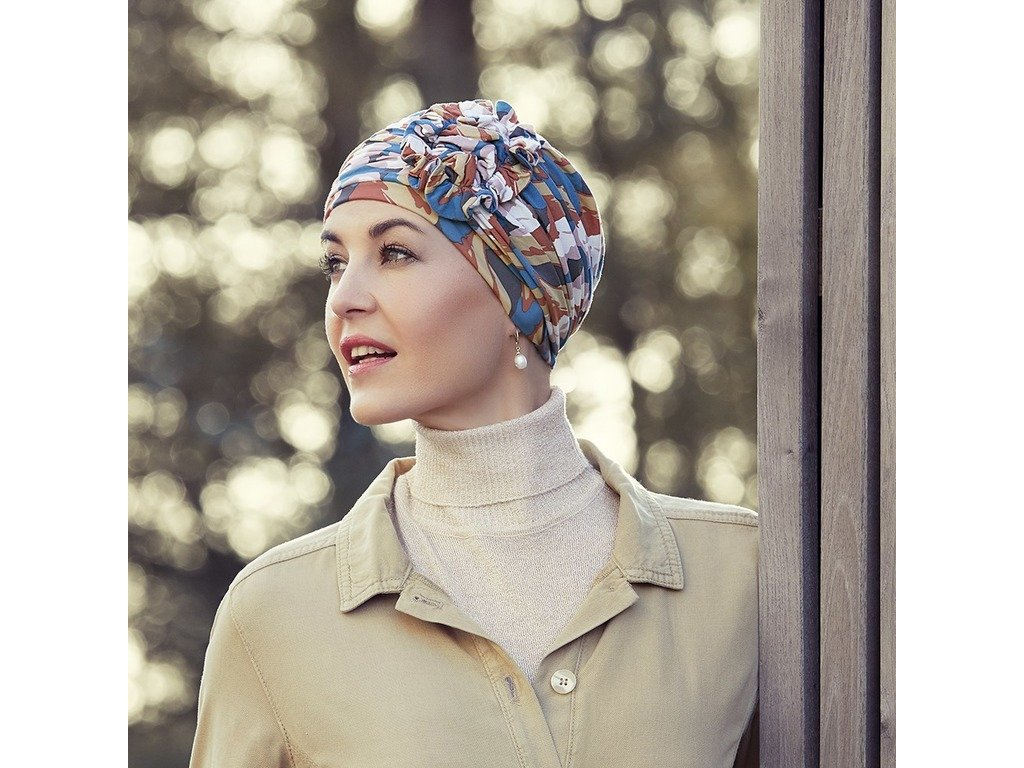 Turban Christine Lotus, vzor Autumn Cherries