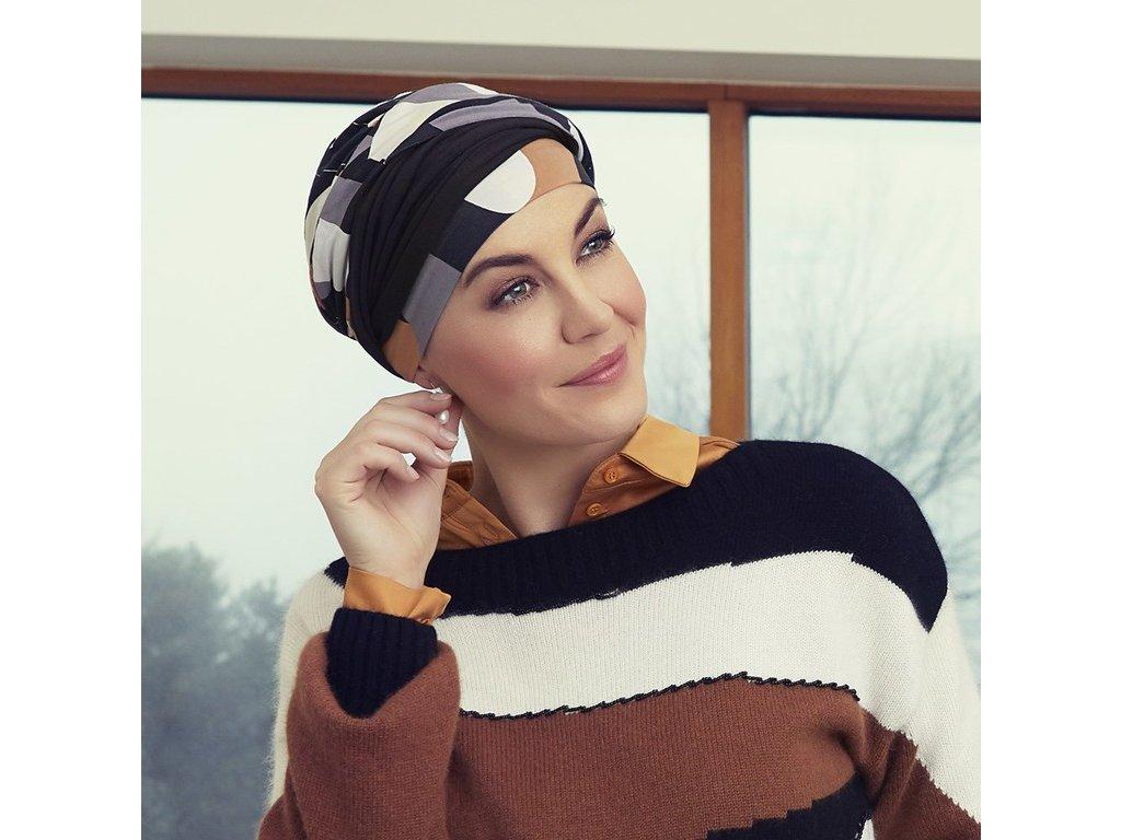Turban Christine Shakti, vzor Shapes of Brown