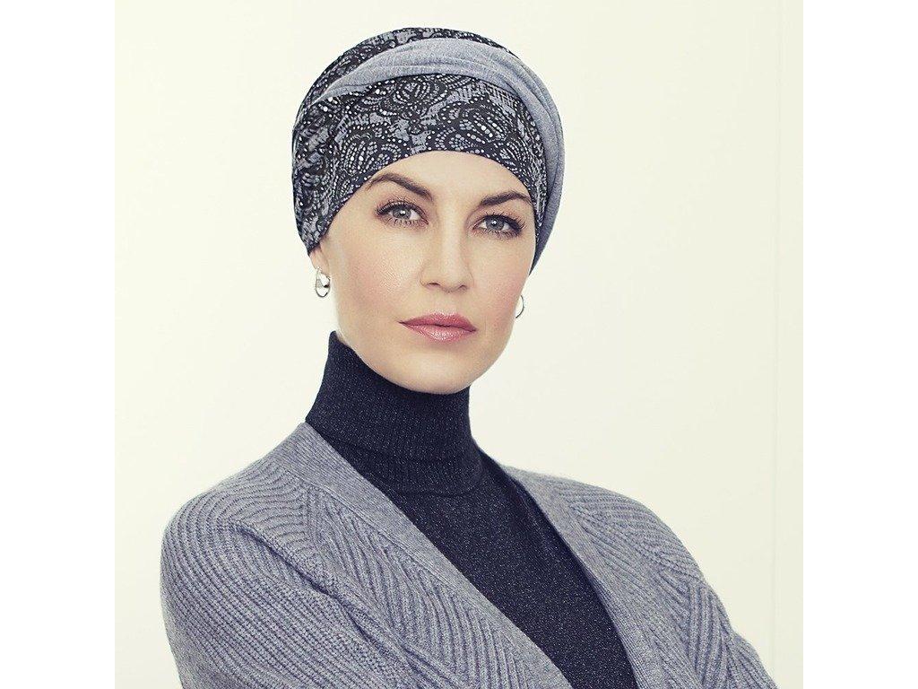Turban Christine Shakti, vzor Rococo Lace