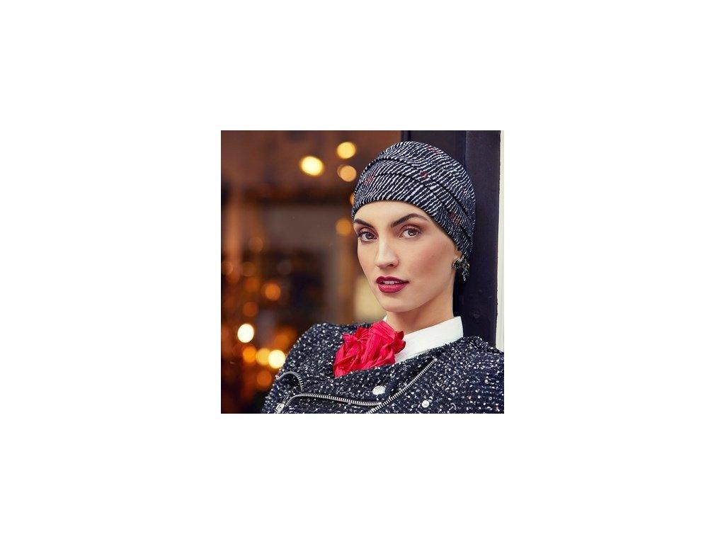 Turban Boho Ruby Sky, vzor Black&White