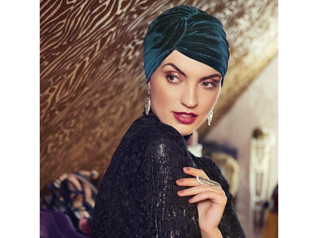 Turban Boho Pearl, vzor Velvet Dark Green