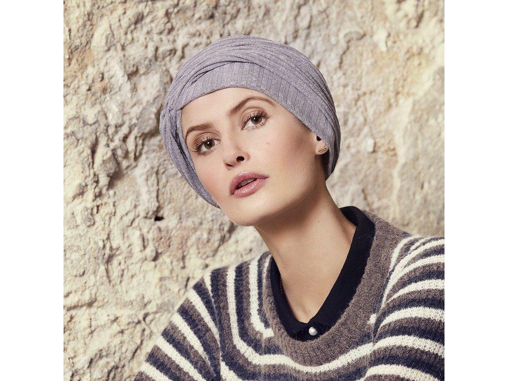 Turban Viva Rosa, vzor Grey melange