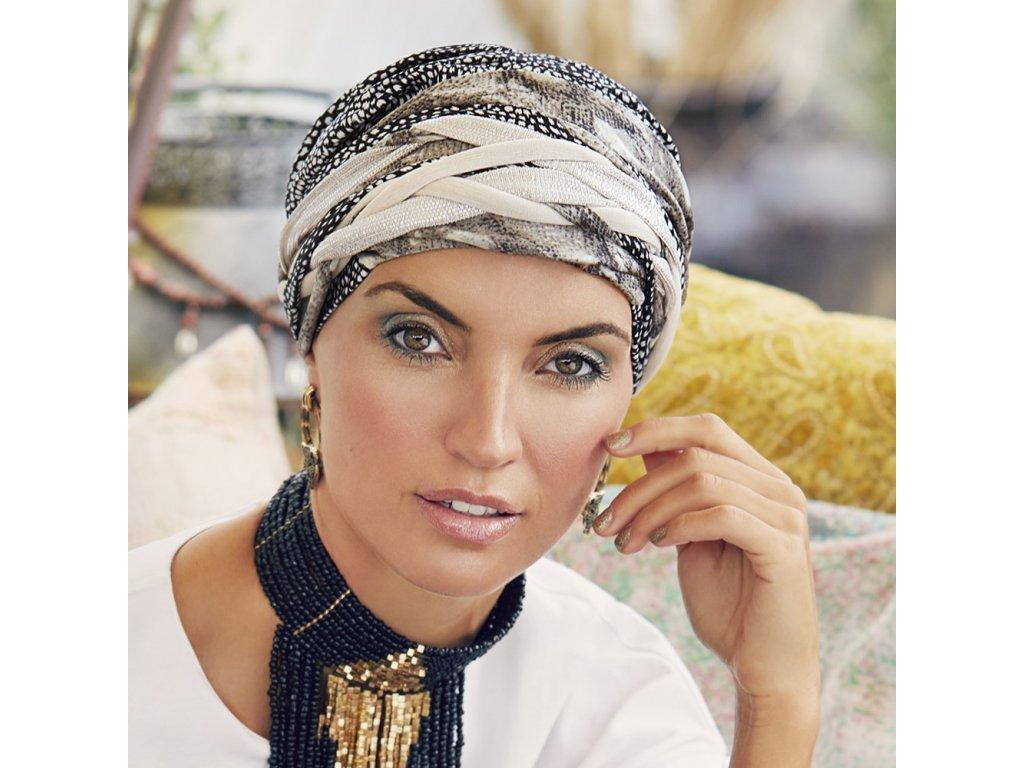 Turban Christine Boho Scarlett, vzor Tulip & Snake