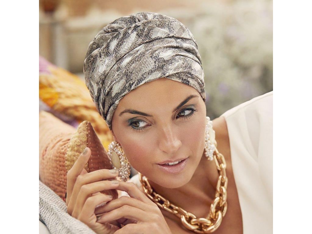 Turban Christine Boho Saphire, vzor Satin Snake