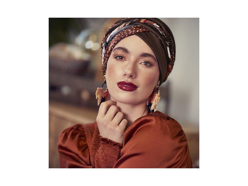 Turban Christine Boho Scarlett, vzor Structured Brown w/mix
