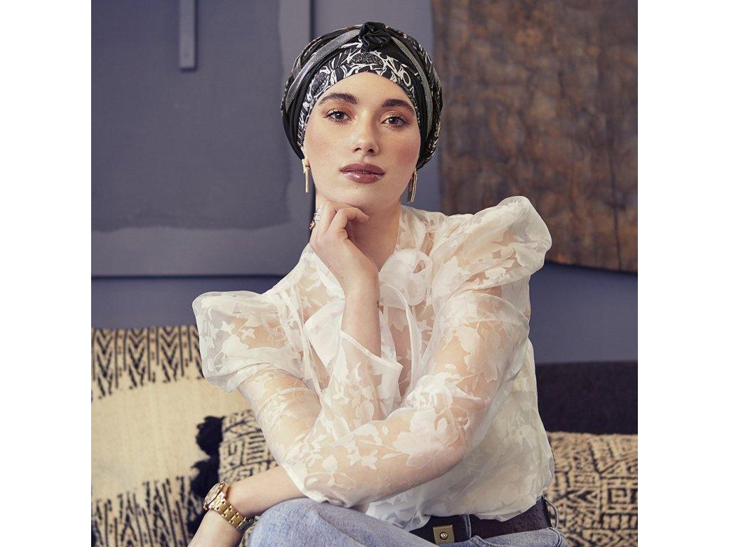 Turban Christine Boho Scarlet, vzor Floral Woods-Shiny mix