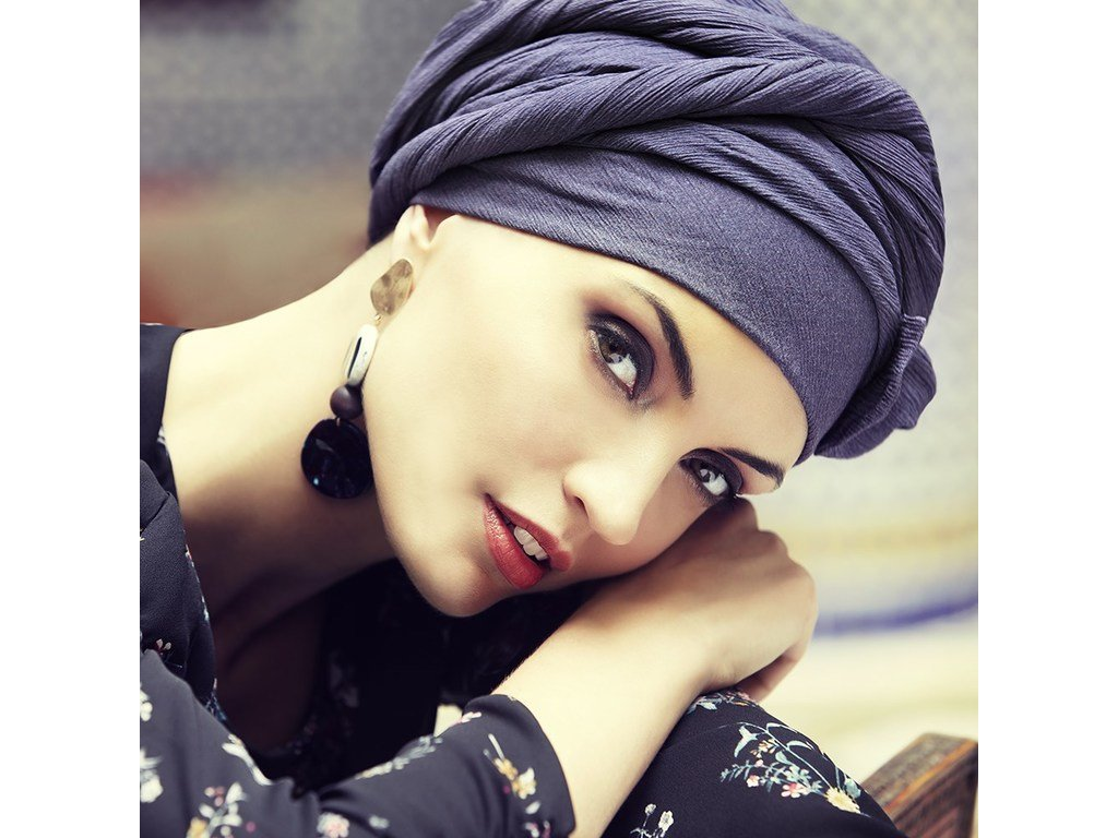 Turban Boho Saphire, vzor Crown Blue
