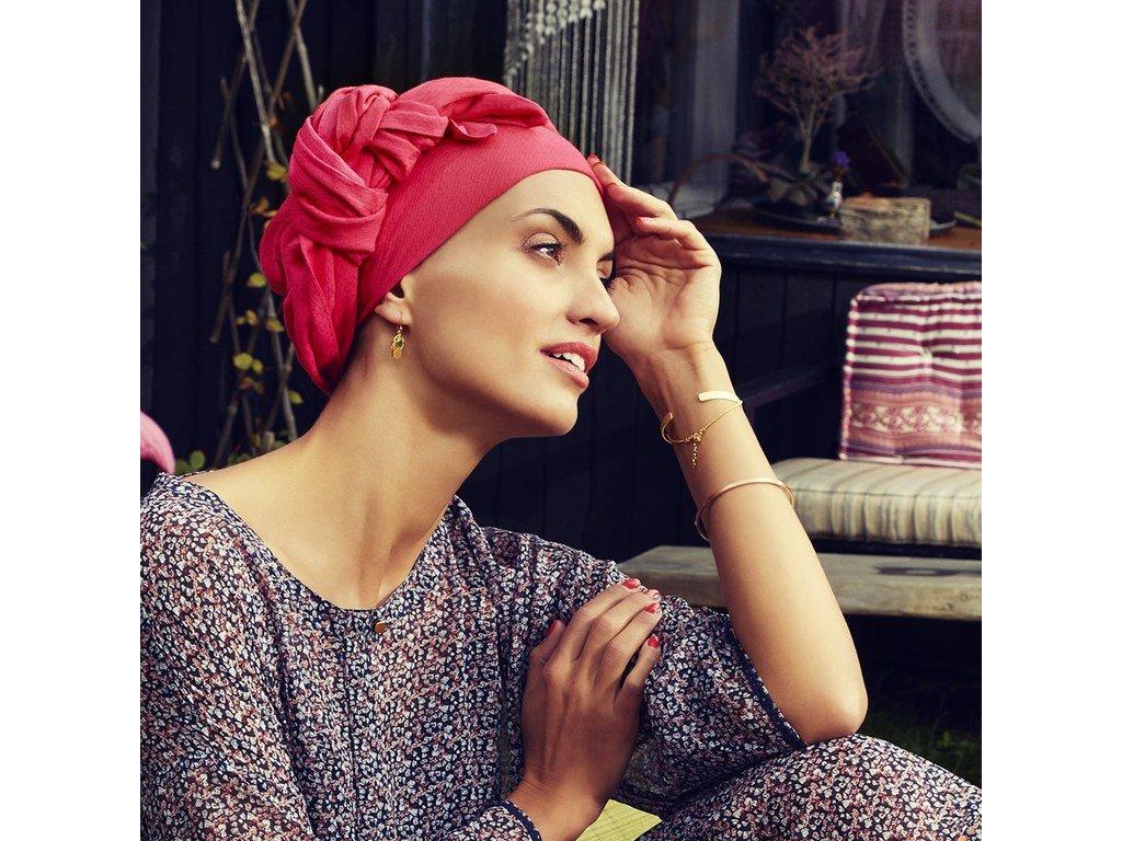 Turban Boho Saphire, vzor Paradise Pink