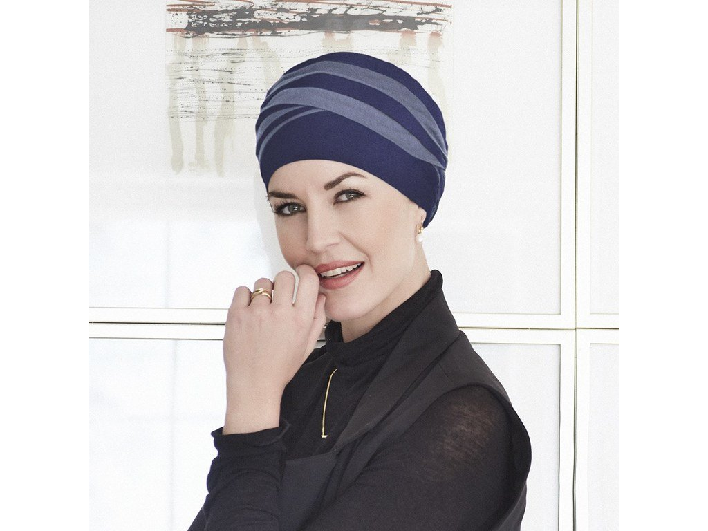 Turban Christine Shanti, vzor Dark Blue/ Light Lilac