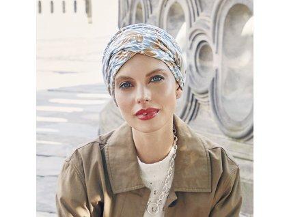 Turban Christine Shakti, vzor Ikat Blues