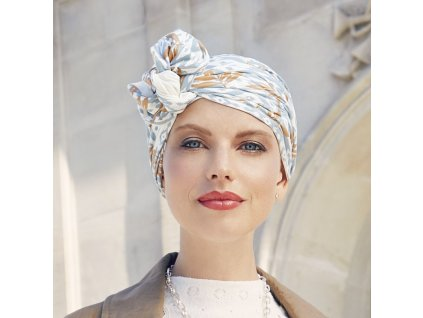 Turban Christine Beatrice, vzor Ikat Blues