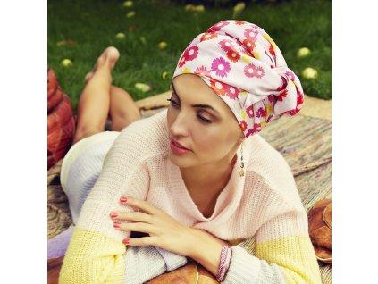 Turban Boho Saphire, vzor Summer Daisies