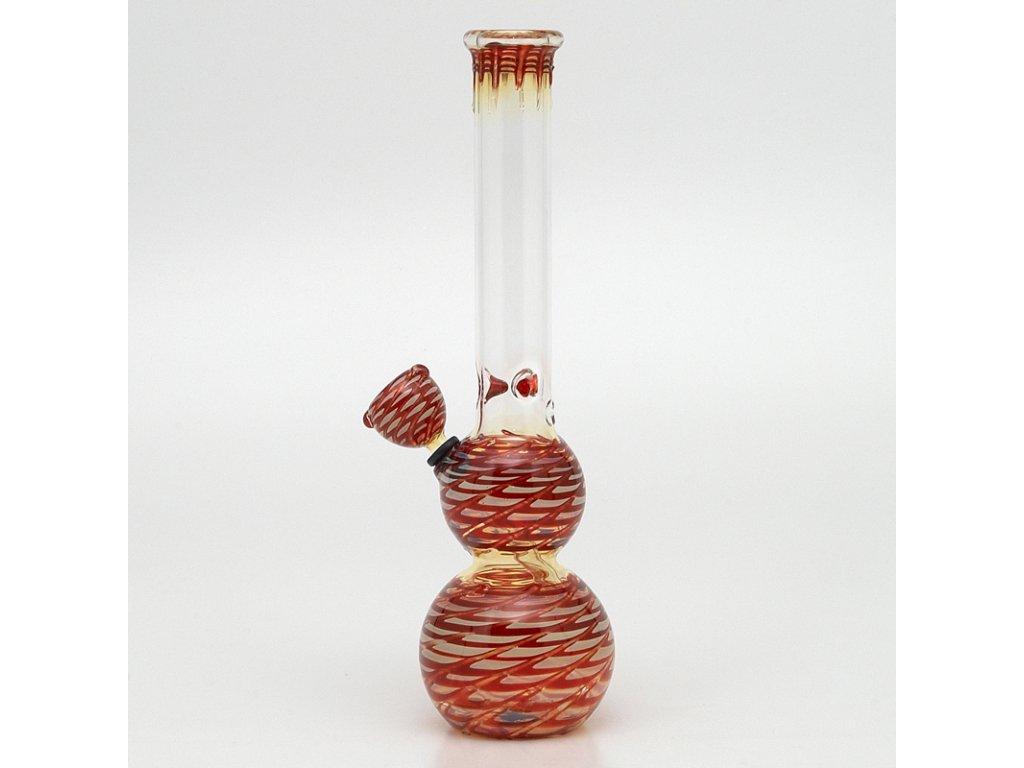 Bong Pyrex Double Bubble 29 cm červená