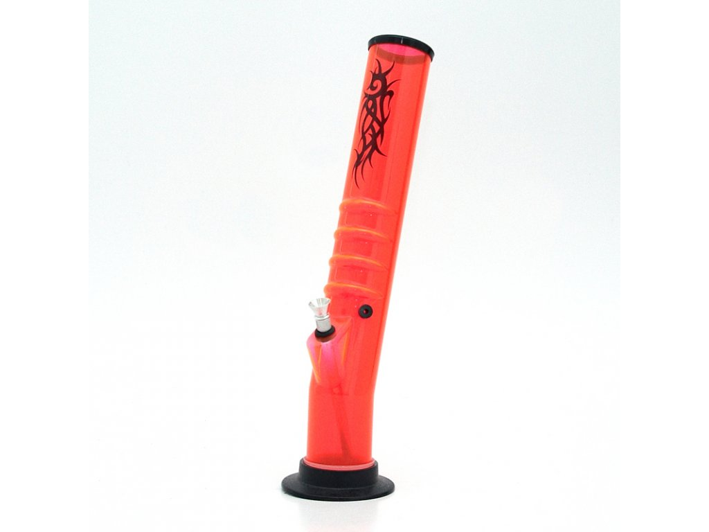 Bong acrylic Tube Tattoo UV 37 cm oranžová