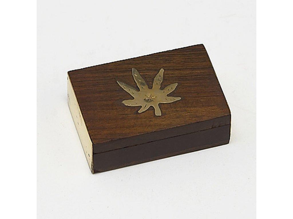 Krabička dřevěná s listem