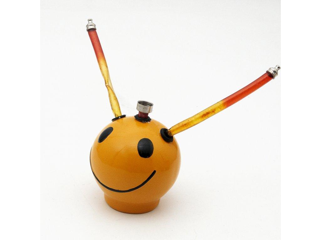 Bong keramika Smajlík se dvěma šlauchy 12 cm žlutá