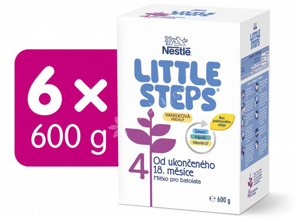 LITTLE STEPS 4 Vanilková příchuť, mléčná výživa pro batolata, obohacená vitamíny a minerálními látkami, od ukončeného 18. měsíce, 6x600 g