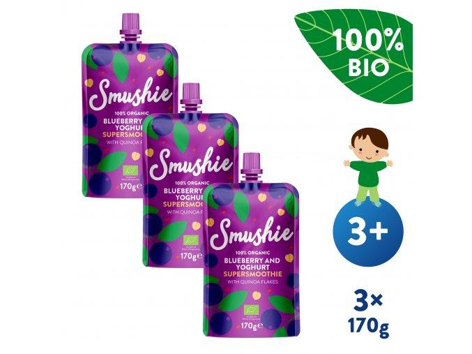 UNI Salvest Smushie BIO Ovocne smoothie s boruvkami jogurtem a quinoou 3x170g 4740073072615