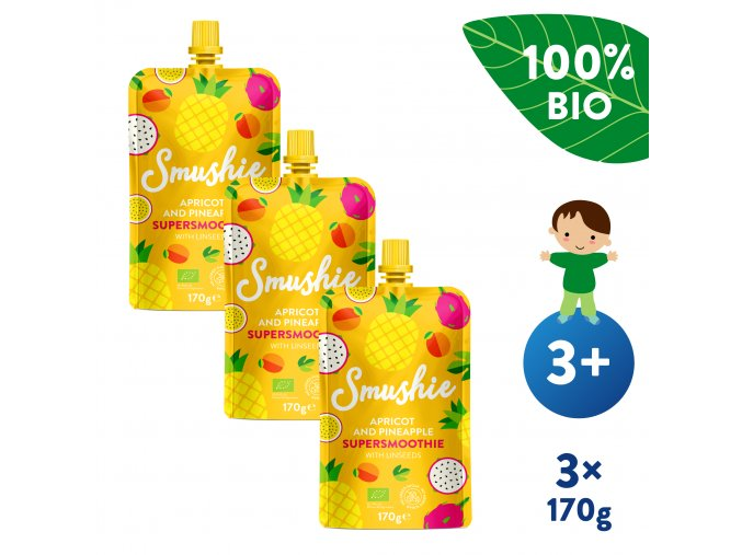 UNI Salvest Smushie BIO Ovocne smoothie s merunkou ananasem a lnenymi seminky 3x170g 4740073075234