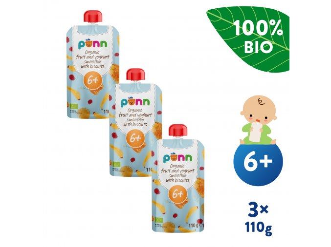 EN UNI Salvest Ponn BIO Ovocne smoothie s jogurtem a susenkami 3x110g 4740073072981
