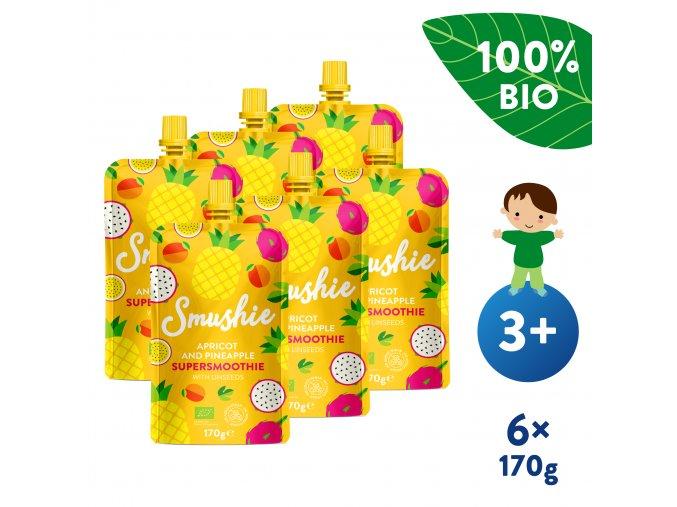 UNI Salvest Smushie BIO Ovocne smoothie s merunkou ananasem a lnenymi seminky 6x170g 4740073075234