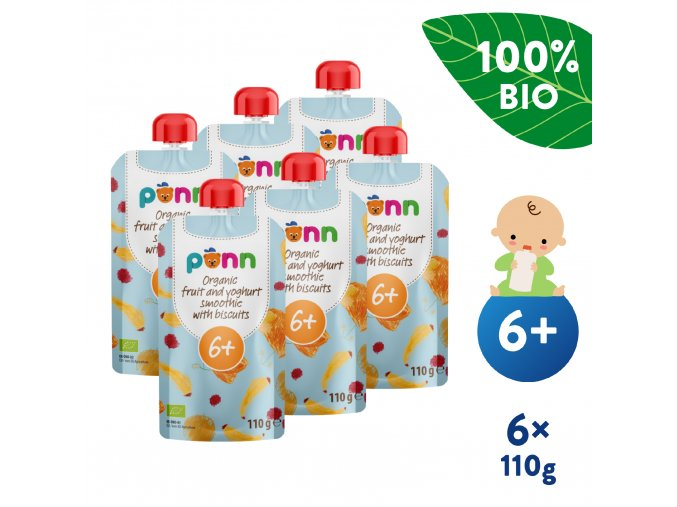 EN UNI Salvest Ponn BIO Ovocne smoothie s jogurtem a susenkami 6x110g 4740073072981