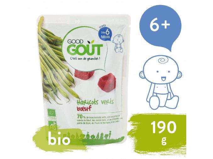 Good Gout BIO Zelené fazolky s hovězím masem 190 g 3760269310056
