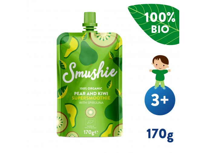 UNI Salvest Smushie BIO Ovocne smoothie s hruskou kiwi a spirulinou 170g 4740073072783