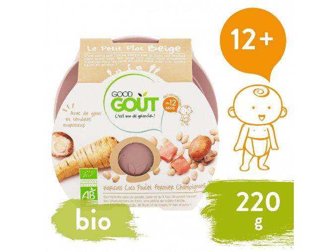 Good Gout BIO Bílé fazolky s kuřátkem a žampiony 220 g 3760269310575