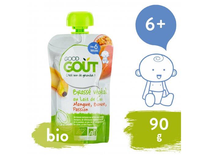 Good Gout BIO Kokosový jogurt s mangem, banánem a marakujou 90 g 3760269310773
