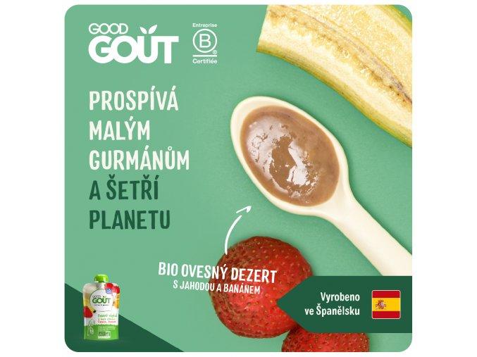 Good Gout BIO Ovesný dezert s jahodou a banánem 90 g 3760269310759