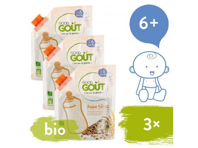 3xGood Gout BIO Dětská ovesná, pšeničná a rýžová instantní kaše v prášku 200 g 3770002327739